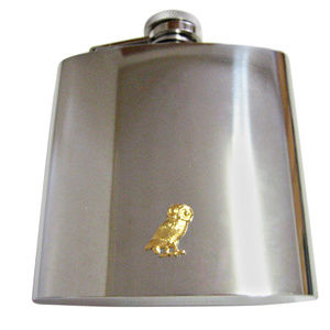 Gold Toned Owl Bird Large Flask